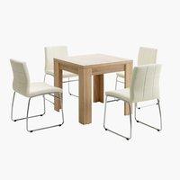 Miza HALLUND D80/160 + 4 stoli HAMMEL