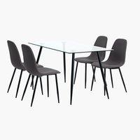 OLLERUP D140+4 židle JONSTRUP šedá/černá