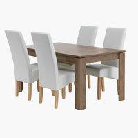 Miza VEDDE d160 + 4 stoli BAKKELY krem