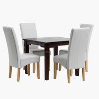 Miza FREDERICIA 90x90 + 4 stoli BAKKELY