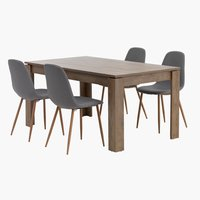 VEDDE L160 w.oak+ 4 JONSTRUP grey/oak