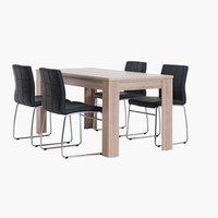 Miza HALLUND 80x160 + 4 stoli HAMMEL