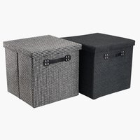 Storage box GODTFRED 32x32x30 w/lid ass.