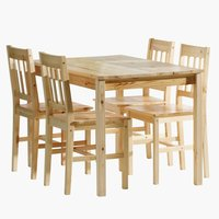 Table + 4 chairs TYLSTRUP pine