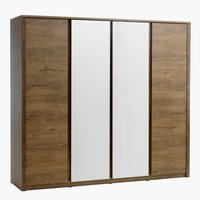 Wardrobe VEDDE 4 doors w/mirror wild oak