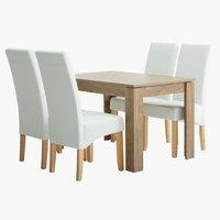 Miza VEDDE d120 + 4 stoli BAKKELY