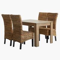 VEDDE H120 tölgy + 4 szék TORRIG natúr