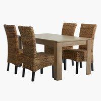 Miza VEDDE d160 + 4 stoli TORRIG
