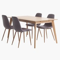KALBY L160/250 oak + 4 UK JONSTRUP grey