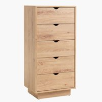 5 drw chest MAMMEN slim oak