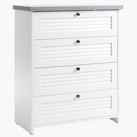 Commode MANDERUP 4 lades beton/wit