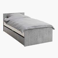 Ліжко-чердак BILLUND 90x200 бетон/білий