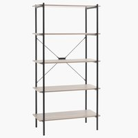 Shelving unit VANDBORG 5shel. oak/black